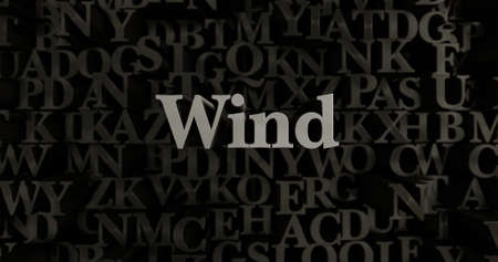 Wind - 3D rendered metallic typeset headline illustration.  Can be used for an online banner ad or a print postcard.