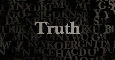 Truth - 3D rendered metallic typeset headline illustration.  Can be used for an online banner ad or a print postcard.