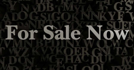 For Sale Now - 3D rendered metallic typeset headline illustration.  Can be used for an online banner ad or a print postcard.