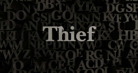 Thief - 3D rendered metallic typeset headline illustration.  Can be used for an online banner ad or a print postcard.