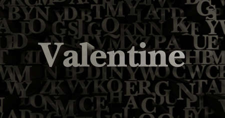 Valentine - 3D rendered metallic typeset headline illustration.  Can be used for an online banner ad or a print postcard.