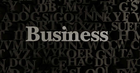 Business - 3D rendered metallic typeset headline illustration.  Can be used for an online banner ad or a print postcard.