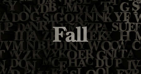 Fall - 3D rendered metallic typeset headline illustration.  Can be used for an online banner ad or a print postcard. Stock Photo