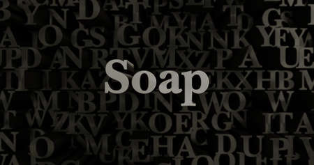 Soap - 3D rendered metallic typeset headline illustration.  Can be used for an online banner ad or a print postcard.