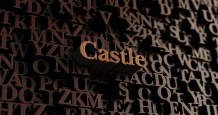 Castle - Wooden 3D rendered lettersmessage.  Can be used for an online banner ad or a print postcard. Stock Photo