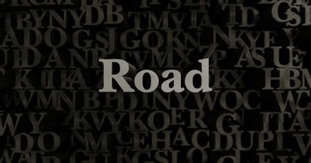 Road - 3D rendered metallic typeset headline illustration.  Can be used for an online banner ad or a print postcard. Stock Photo