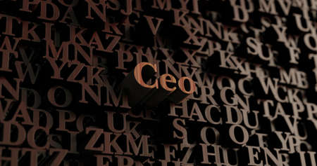 Ceo - Wooden 3D rendered lettersmessage.  Can be used for an online banner ad or a print postcard. Stock Photo