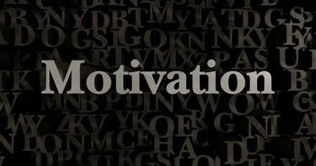 Motivation - 3D rendered metallic typeset headline illustration.  Can be used for an online banner ad or a print postcard. Stock Photo