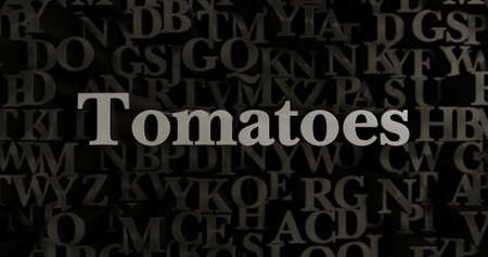 Tomatoes - 3D rendered metallic typeset headline illustration.  Can be used for an online banner ad or a print postcard. Stock Photo