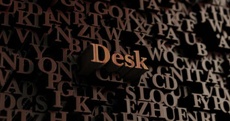 Desk - Wooden 3D rendered lettersmessage.  Can be used for an online banner ad or a print postcard.