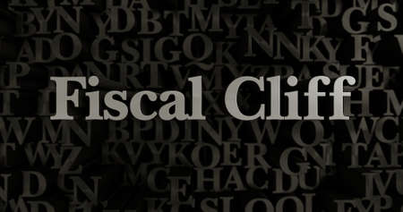 fiscal cliff: Fiscal Cliff - 3D rendered metallic typeset headline illustration.  Can be used for an online banner ad or a print postcard.