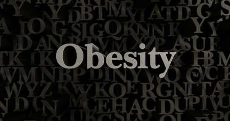 Obesidad - 3D rindió el ejemplo compuesto tipográfico metálico. Se puede utilizar para un banner publicitario en línea o una postal impresa. Foto de archivo - 65140835