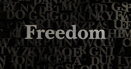 Freedom - 3D rendered metallic typeset headline illustration.  Can be used for an online banner ad or a print postcard.