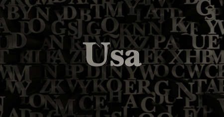 Usa - 3D rendered metallic typeset headline illustration.  Can be used for an online banner ad or a print postcard.