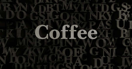 Coffee - 3D rendered metallic typeset headline illustration.  Can be used for an online banner ad or a print postcard.