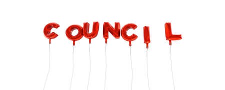 COUNCIL - word made from red foil balloons - 3D rendered.  Can be used for an online banner ad or a print postcard. Stock Photo