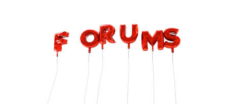 forums: FORUMS - word made from red foil balloons - 3D rendered.  Can be used for an online banner ad or a print postcard.