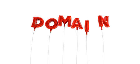 domain: DOMAIN - word made from red foil balloons - 3D rendered.  Can be used for an online banner ad or a print postcard. Stock Photo