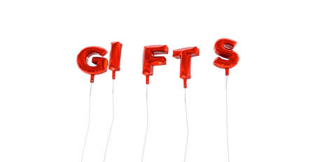 GIFTS - word made from red foil balloons - 3D rendered.  Can be used for an online banner ad or a print postcard.