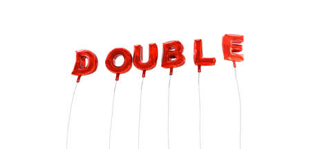 single word: DOUBLE - word made from red foil balloons - 3D rendered.  Can be used for an online banner ad or a print postcard.