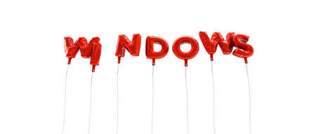 WINDOWS - word made from red foil balloons - 3D rendered.  Can be used for an online banner ad or a print postcard. Stock Photo