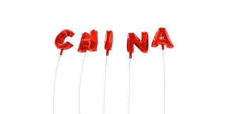 CHINA - word made from red foil balloons - 3D rendered.  Can be used for an online banner ad or a print postcard.