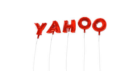 yahoo: YAHOO - word made from red foil balloons - 3D rendered.  Can be used for an online banner ad or a print postcard. Editorial