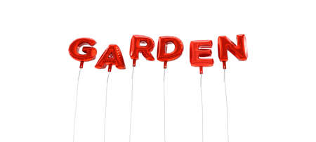 GARDEN - word made from red foil balloons - 3D rendered.  Can be used for an online banner ad or a print postcard.