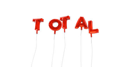 total: TOTAL - word made from red foil balloons - 3D rendered.  Can be used for an online banner ad or a print postcard. Stock Photo