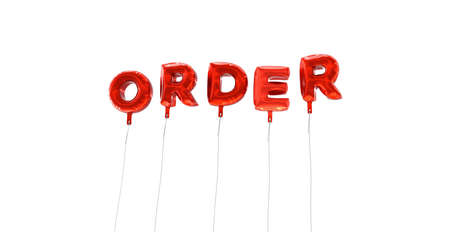 made to order: ORDER - word made from red foil balloons - 3D rendered.  Can be used for an online banner ad or a print postcard. Stock Photo