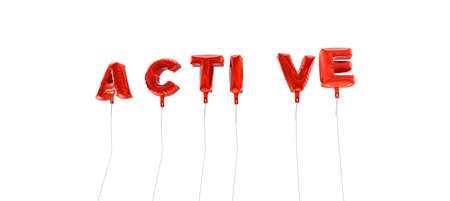 ACTIVE - word made from red foil balloons - 3D rendered.  Can be used for an online banner ad or a print postcard.
