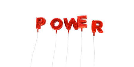single word: POWER - word made from red foil balloons - 3D rendered.  Can be used for an online banner ad or a print postcard. Stock Photo