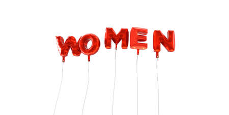WOMEN - word made from red foil balloons - 3D rendered.  Can be used for an online banner ad or a print postcard.