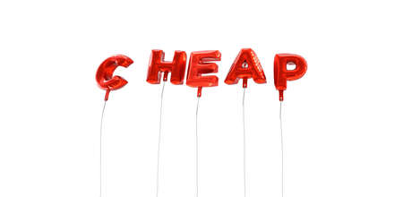 CHEAP - word made from red foil balloons - 3D rendered.  Can be used for an online banner ad or a print postcard. Stock Photo