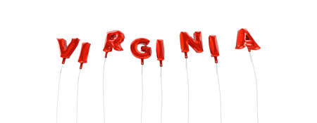 3d virginia: VIRGINIA - word made from red foil balloons - 3D rendered.  Can be used for an online banner ad or a print postcard.