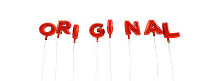 original single: ORIGINAL - word made from red foil balloons - 3D rendered.  Can be used for an online banner ad or a print postcard.