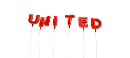 single word: UNITED - word made from red foil balloons - 3D rendered.  Can be used for an online banner ad or a print postcard. Stock Photo
