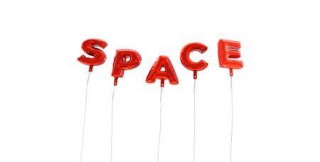 ad space: SPACE - word made from red foil balloons - 3D rendered.  Can be used for an online banner ad or a print postcard. Stock Photo