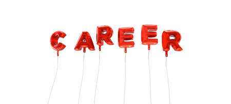 CAREER - word made from red foil balloons - 3D rendered.  Can be used for an online banner ad or a print postcard.