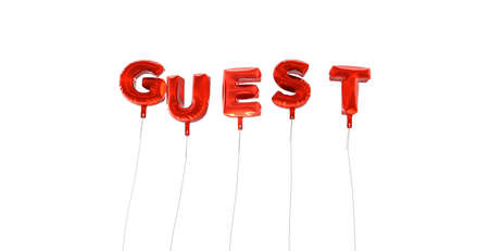 guest: GUEST - word made from red foil balloons - 3D rendered.  Can be used for an online banner ad or a print postcard.