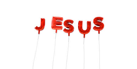 single word: JESUS - word made from red foil balloons - 3D rendered.  Can be used for an online banner ad or a print postcard.