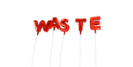 waste 3d: WASTE - word made from red foil balloons - 3D rendered.  Can be used for an online banner ad or a print postcard. Stock Photo