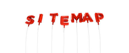 SITEMAP - word made from red foil balloons - 3D rendered.  Can be used for an online banner ad or a print postcard.
