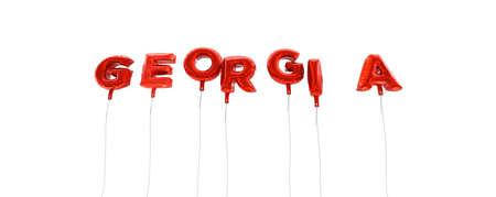 georgia: GEORGIA - word made from red foil balloons - 3D rendered.  Can be used for an online banner ad or a print postcard.