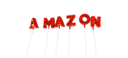 amazon: AMAZON - word made from red foil balloons - 3D rendered.  Can be used for an online banner ad or a print postcard.