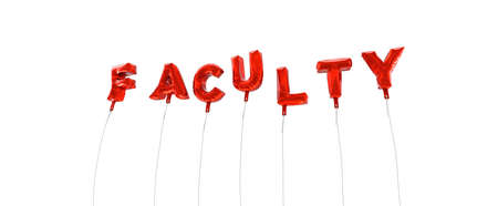faculty: FACULTY - word made from red foil balloons - 3D rendered.  Can be used for an online banner ad or a print postcard.