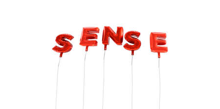 a sense of: SENSE - word made from red foil balloons - 3D rendered.  Can be used for an online banner ad or a print postcard. Stock Photo