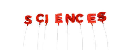 SCIENCES - word made from red foil balloons - 3D rendered.  Can be used for an online banner ad or a print postcard.
