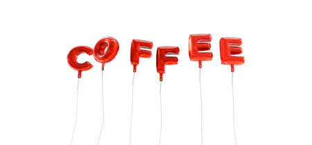 single word: COFFEE - word made from red foil balloons - 3D rendered.  Can be used for an online banner ad or a print postcard. Stock Photo
