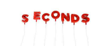 seconds: SECONDS - word made from red foil balloons - 3D rendered.  Can be used for an online banner ad or a print postcard.